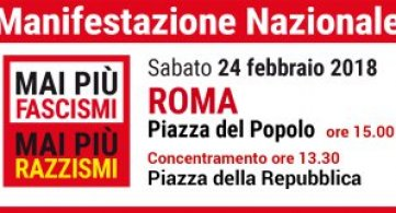 Mai più fascismi: manifestazione nazionale a Roma il 24 febbraio