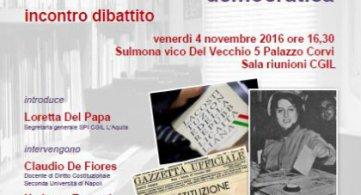 Sulmona 4 novembre 2016 Incontro dibattito sulla riforma costituzionale
