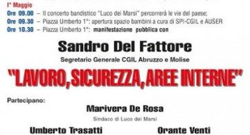 """Primo maggio 2018 a Luco dei Marsi (AQ) """"Lavoro Sicurezza Aree interne"""""""