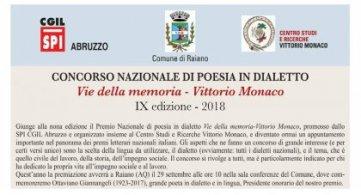 """IX Edizione del premio di poesia in dialetto """"Vie della memoria-Vittorio Monaco"""""""