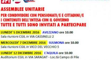 Pensioni: assemblee unitarie pensionati sull'intesa con il Governo in provincia dell'Aquila