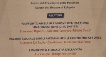 L'Aquila 6 dicembre 2019. Intervento al convegno L'anziano oggi: ruolo e problematiche